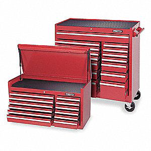 "Red Standard Duty Rolling Cabinet, 61"" H X 41"" W X 18"" D, Number of Drawers: 27"