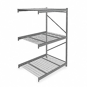 "Add-On Bulk Storage Rack with Galvanized Wire Decking and 3 Shelves, 60""W x 48""D x 96""H"