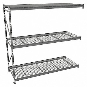"Add-On Bulk Storage Rack with Galvanized Wire Decking and 3 Shelves, 96""W x 36""D x 96""H"