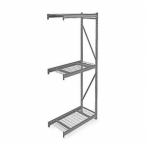 "Add-On Bulk Storage Rack with Galvanized Wire Decking and 3 Shelves, 48""W x 24""D x 120""H"