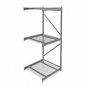 "Add-On Bulk Storage Rack with Galvanized Wire Decking and 3 Shelves, 48""W x 48""D x 120""H"