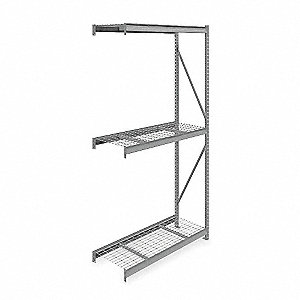 "Add-On Bulk Storage Rack with Galvanized Wire Decking and 3 Shelves, 60""W x 24""D x 120""H"