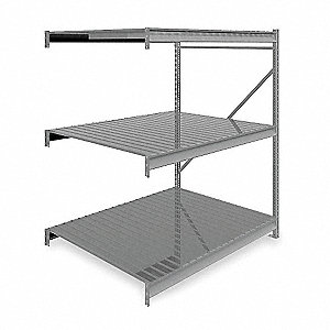 "Add-On Bulk Storage Rack with Ribbed Steel Decking and 3 Shelves, 60""W x 48""D x 72""H"