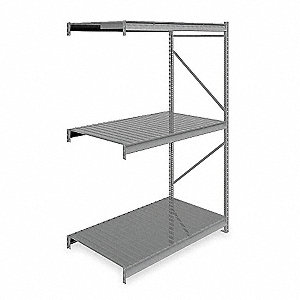 "Add-On Bulk Storage Rack with Ribbed Steel Decking and 3 Shelves, 60""W x 36""D x 96""H"
