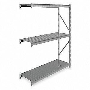 "Add-On Bulk Storage Rack with Ribbed Steel Decking and 3 Shelves, 72""W x 24""D x 96""H"