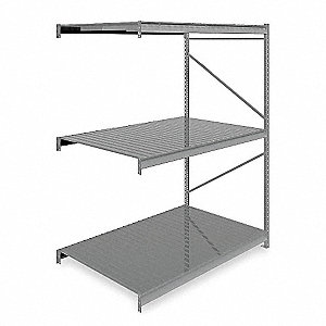 "Add-On Bulk Storage Rack with Ribbed Steel Decking and 3 Shelves, 72""W x 48""D x 96""H"