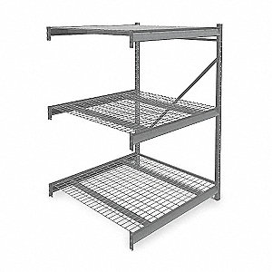 "Add-On Bulk Storage Rack with Galvanized Wire Decking and 3 Shelves, 48""W x 48""D x 72""H"