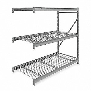 "Add-On Bulk Storage Rack with Galvanized Wire Decking and 3 Shelves, 72""W x 36""D x 72""H"