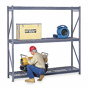 "Starter Bulk Storage Rack with Galvanized Wire Decking and 3 Shelves, 48""W x 36""D x 120""H"
