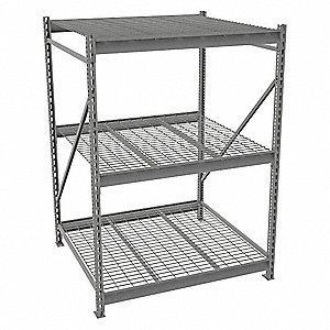 "Starter Bulk Storage Rack with Galvanized Wire Decking and 3 Shelves, 48""W x 48""D x 72""H"