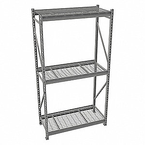 "Starter Bulk Storage Rack with Galvanized Wire Decking and 3 Shelves, 48""W x 24""D x 96""H"