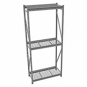 "Starter Bulk Storage Rack with Galvanized Wire Decking and 3 Shelves, 48""W x 24""D x 120""H"