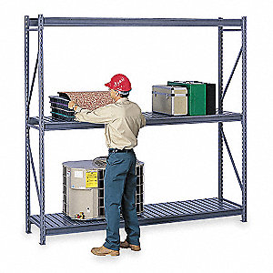 "96"" x 48"" x 96"" Steel Bulk Storage Rack Starter Unit, Medium Gray&#x3b; Number of Shelves: 3"