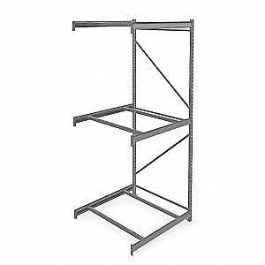 "Add-On Bulk Storage Rack with None Decking and 3 Shelves, 48""W x 48""D x 120""H"
