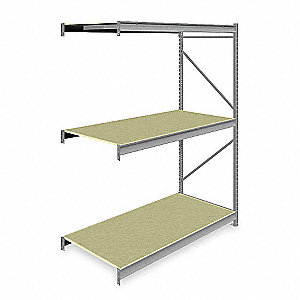 "Add-On Bulk Storage Rack with Particle Board Decking and 3 Shelves, 72""W x 36""D x 96""H"