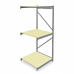 "Add-On Bulk Storage Rack with Particle Board Decking and 3 Shelves, 48""W x 48""D x 120""H"