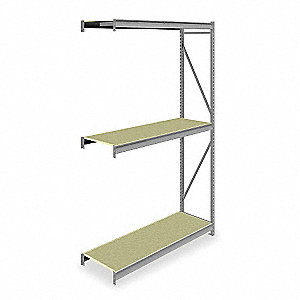 "Add-On Bulk Storage Rack with Particle Board Decking and 3 Shelves, 72""W x 24""D x 120""H"