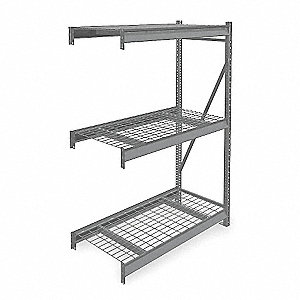 "Add-On Bulk Storage Rack with Galvanized Wire Decking and 3 Shelves, 60""W x 36""D x 72""H"