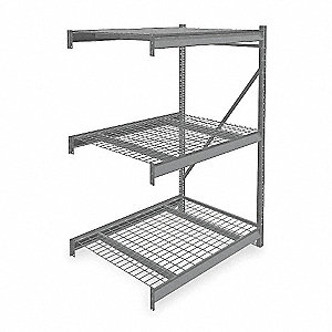 "Add-On Bulk Storage Rack with Galvanized Wire Decking and 3 Shelves, 48""W x 36""D x 72""H"