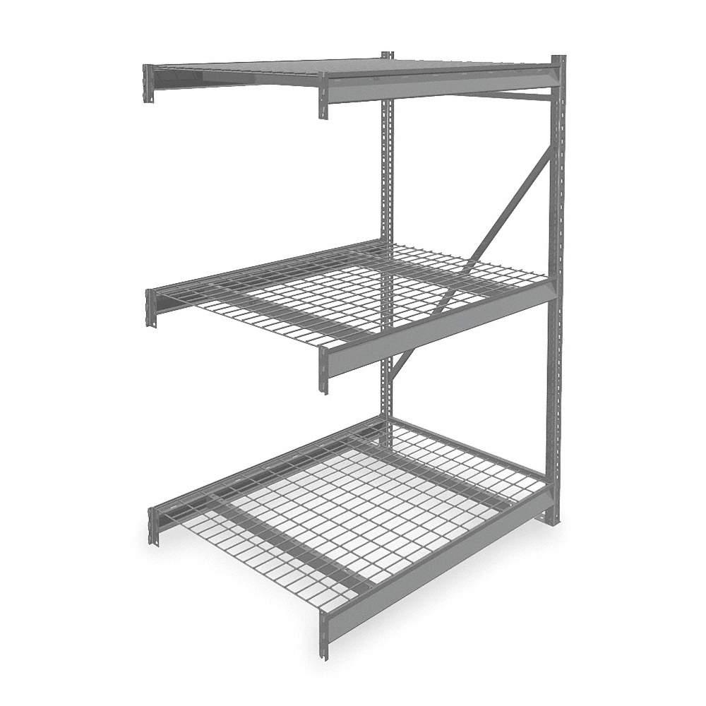 TENNSCO Add-On Bulk Storage Rack with Galvanized Wire Decking and 3 ...