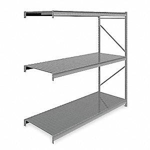 "96""W x 36""D x 96""H Steel Bulk Storage Rack Add-On Unit, Medium Gray&#x3b; Number of Shelves: 3"