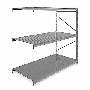 "Add-On Bulk Storage Rack with Ribbed Steel Decking and 3 Shelves, 96""W x 48""D x 96""H"