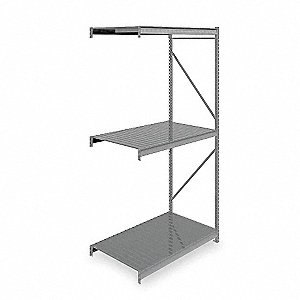 "Add-On Bulk Storage Rack with Ribbed Steel Decking and 3 Shelves, 60""W x 36""D x 120""H"