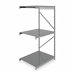 "Add-On Bulk Storage Rack with Ribbed Steel Decking and 3 Shelves, 60""W x 48""D x 120""H"