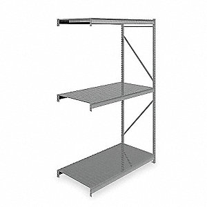 "Add-On Bulk Storage Rack with Ribbed Steel Decking and 3 Shelves, 72""W x 36""D x 120""H"