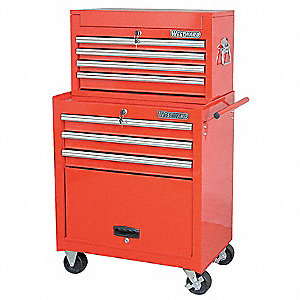 "Red Combination Tool Chest/Cabinet, Light Duty, Width: 26-11/16"", Depth: 18-1/16"", Height: 42-1/2"""