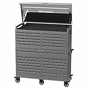 "Silver Combination Tool Chest/Cabinet, Premium, Width: 56"", Depth: 24"", Height: 63"""