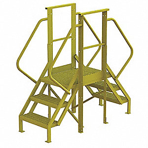 "Crossover Ladder, Steel, 30"" Platform Height, 20"" Span, Number of Steps 3"
