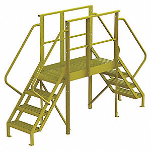 "Crossover Ladder, Steel, 40"" Platform Height, 50"" Span, Number of Steps 4"