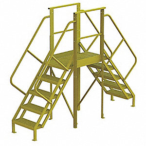 "Crossover Ladder, Steel, 50"" Platform Height, 30"" Span, Number of Steps 5"