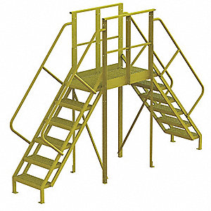 "Crossover Ladder, Steel, 60"" Platform Height, 40"" Span, Number of Steps 6"