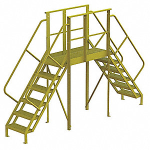 "Crossover Ladder, Steel, 60"" Platform Height, 50"" Span, Number of Steps 6"
