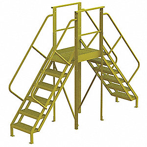 "Crossover Ladder, Steel, 60"" Platform Height, 30"" Span, Number of Steps 6"