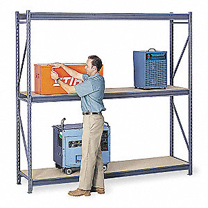 "Starter Bulk Storage Rack with Particle Board Decking and 3 Shelves, 48""W x 36""D x 96""H"