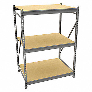 "Starter Bulk Storage Rack with Particle Board Decking and 3 Shelves, 48""W x 36""D x 72""H"