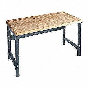 "Bolted Workbench, Butcher Block, 30"" Depth, 30-3/4"" to 34-3/4"" Height, 60"" Width, 4000 lb. Load Capa"