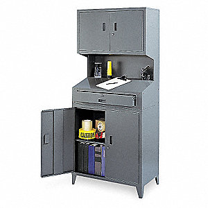 "31-1/2"" x 21"" x 72-1/2"" Lockable Service Writer, Gray"