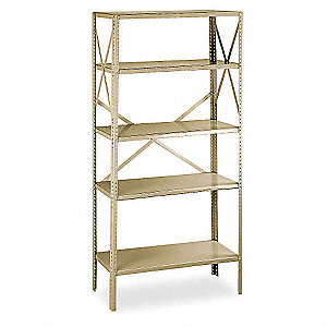 "Freestanding Open Metal Shelving, 36""W x 12""D x 75"" Load Cap., 5 Shelves, Tan"