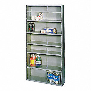 "Metal Shelving,Closed,75""H,5 Shelf"