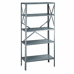 "Freestanding Open Metal Shelving, 36""W x 24""D x 75"" Load Cap., 5 Shelves, Gray"