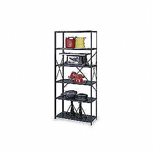 "Freestanding Open Metal Shelving, 36""W x 24""D x 75"" Load Cap., 6 Shelves, Gray"