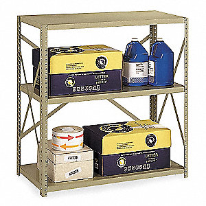 "Freestanding Open Metal Shelving, 36""W x 18""D x 42"" Load Cap., 3 Shelves, Tan"