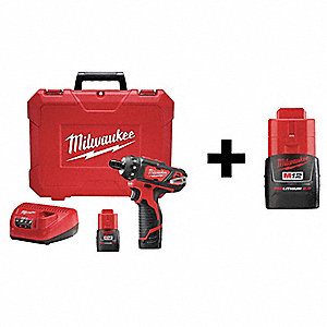 "1/4"" Hex Cordless Screwdriver Kit,12V,W/Add Bat, 12.0 Voltage, Battery Included"