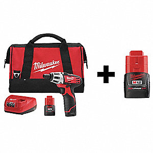 "1/4"" Cordless Screwdriver Kit, 12.0 Voltage, Battery Included"