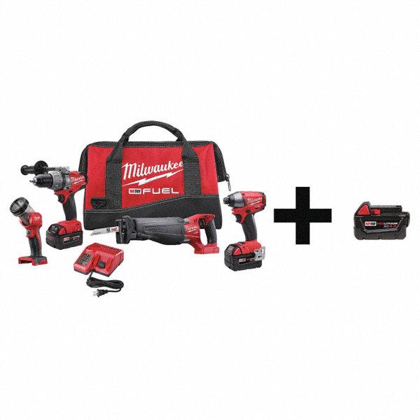 Milwaukee Cordless Combo Kit 18 0 V 4 Tools 3 Batt 7du33