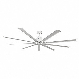 7 Blade Ceiling Fan: 9-Blade Ceiling Fan Combo, 120V, 7 to 20 ft.,Lighting